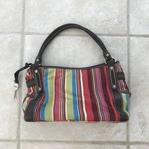 Fossil Striped Tote Purse Pocketbook